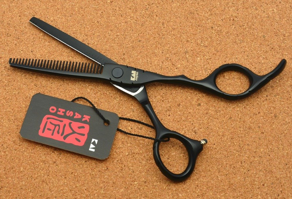 "6.0&"" Japan Kasho 440C Black Color Hairdressing Scissors Cutting Shears Thinning"