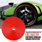 New Red Car Wheel Hub Rim Edge Protector Ring Tire Guard Sticker Rubber Strip