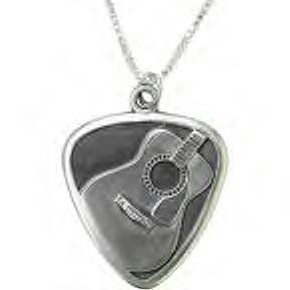 Jeffrey David Silver Guitar Pick with Acoustic Guitar Pendant
