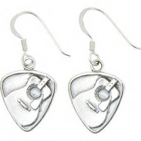 Jeffrey David Silver Guitar Pick with Acoustic Guitar Earrings