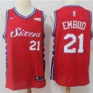 Men's 76ers Joel Embiid 21 Stitched Swingman jersey Red