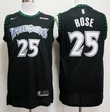 100% authentic d2e0c cf34b Derrick Rose #25 Men's Timberwolves Black Replica Jersey ...