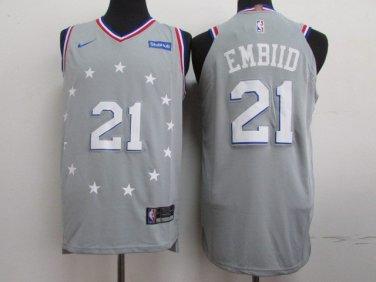 half off a6507 8f071 Joel Embiid #21 Men's 76ers Gray 1819 Replica Jersey City ...