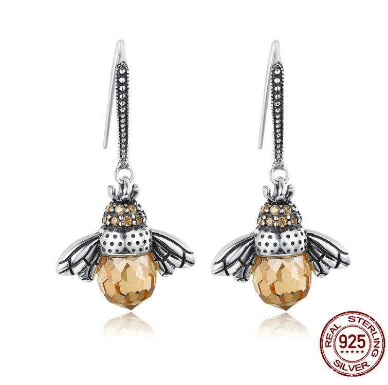 BAMOER Hot Sale Genuine 925 Sterling Silver Lovely Orange Bee Animal Drop Earrings for Women Jewelry