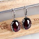 Retro Silver Earrings for Women Vintage Red Yellow Precious Stones with 925 Sterling Silver