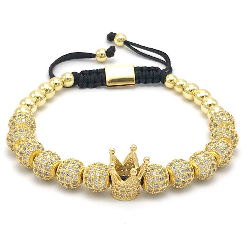 Women fashion CZ Imperial Crown Bracelet with gold-color Micro Pave CZ Braiding Macrame Bracelet