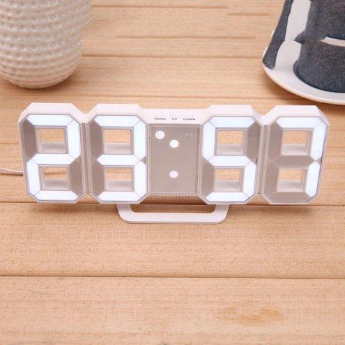 Digital Clock LED Table Clock Brightness Adjustable Electronic Alarm Clock with USB Cable