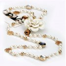 Cubic zircon rose flower simulated pearl long necklace for women sweater winter necklace Christmas
