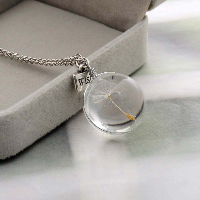 Dandelion Seed Wish Real Flowers 925 Sterling Silver Chain Statement Necklace