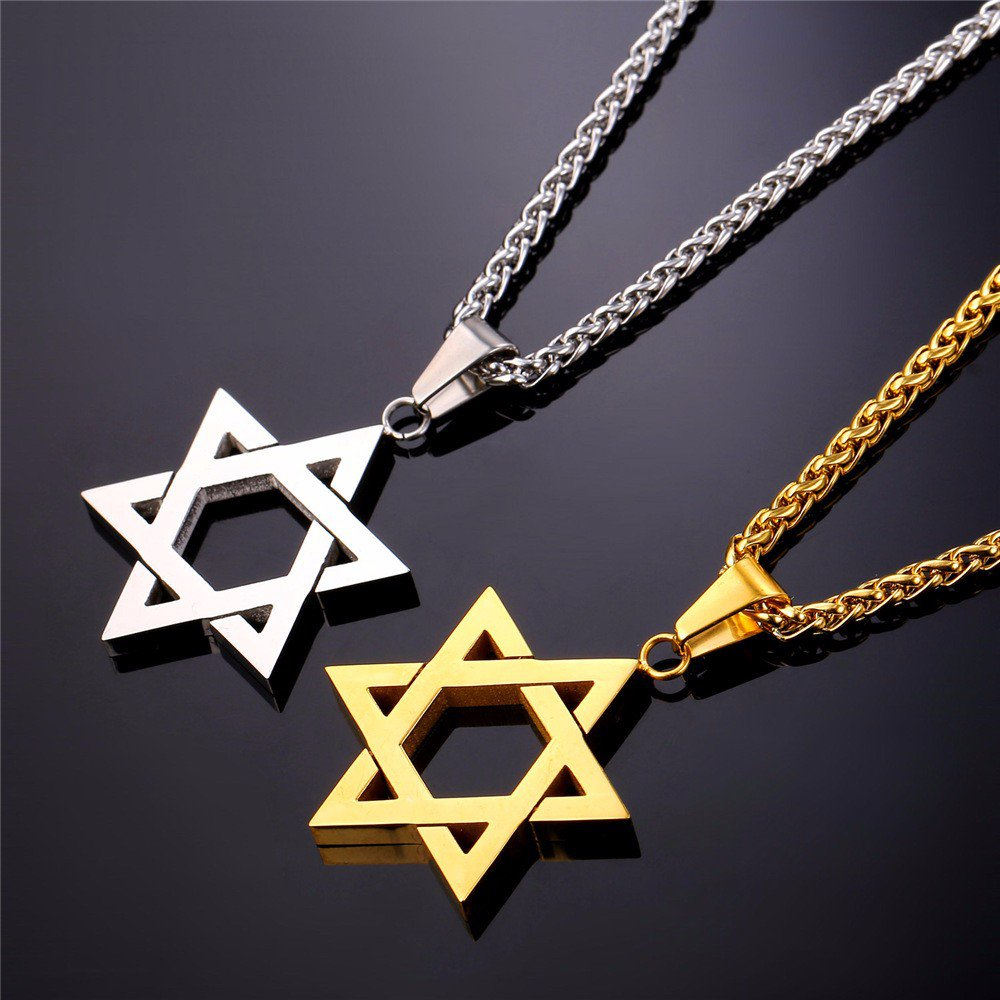 Star Of David Pendant Israel Chain Necklace Women Stainless Steel Gold/Black Color Jewish