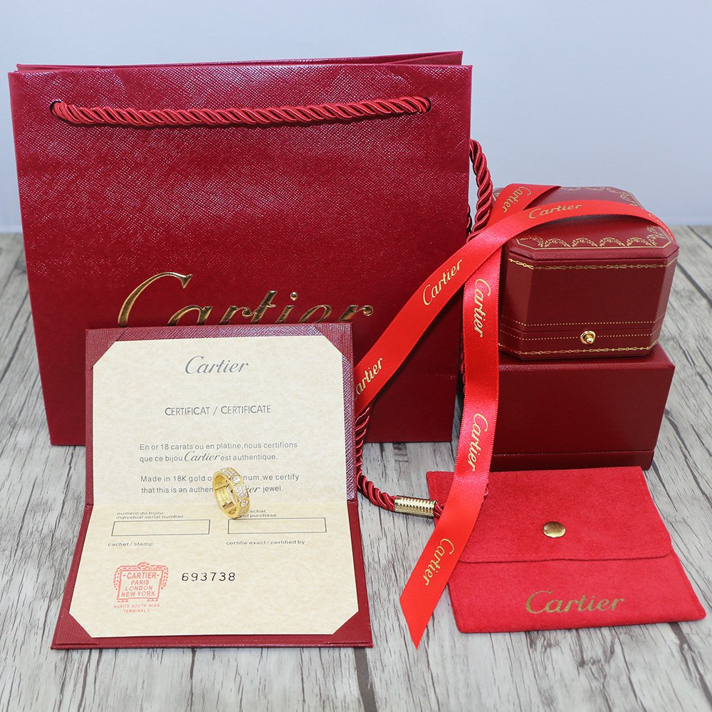 Cartier Love Ring Full Diamonds Paved Version With Original Box Set