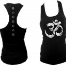 Ohm Aum distressed look & 7 Chakras yoga wear women black racerback tank top M/L
