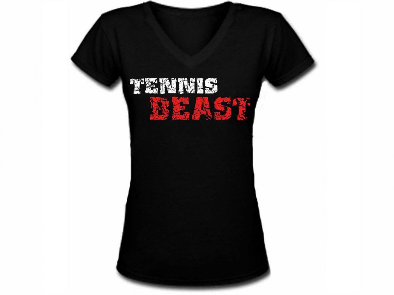 91d07d2ba6b3f Tennis Beast distressed look funny sport gift women or junior v neck ...