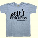 Basketball player evolution kids boys childrens 100% cotton gray sports t-shirt