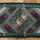 INDIAN Table Bed Runner Tapestry Wall Hanging 150cm Recycled Sari Black Green