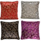 Decorative Cushion Covers Purple Black Red Cream Paisley Sequin Embroidery 40cm