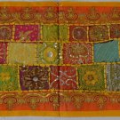 INDIAN Table Bed Runner Tapestry Wall Hanging 150cm Recycled Sari Yellow Rainbow