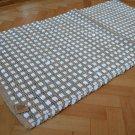"Jute Rug White Chindi Cotton Stripe Handmade Knotted Dhurrie 70x140cm 2'4""x4'7"""