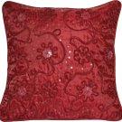 "Maroon Red Sequin Flower Cushion Covers 16"" 40cm Faux Silk Machine Washable Sofa"