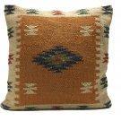 "Large Kilim Cushion Cover Floor Orange Diamond Indian Moroccan 60cm Handmade 24"""