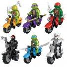 Teenage Mutant Ninja Turtle with Motorcycle 6pcs Lego Minifigure Toys Set