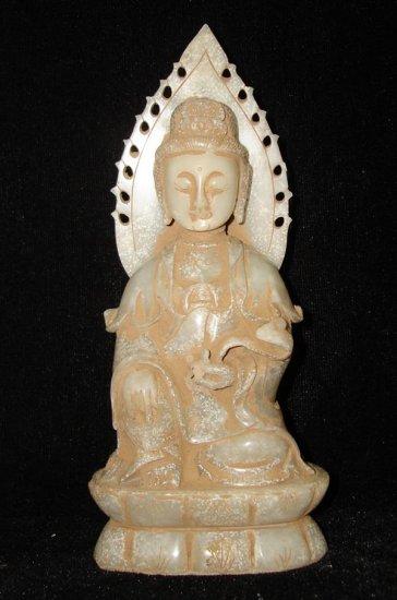 Old Chinese Quan Yin &Ru Yi White Jade Carving AD1644