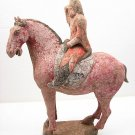 RARE COLOR POTTERY HORSE AND RIDER W/COA