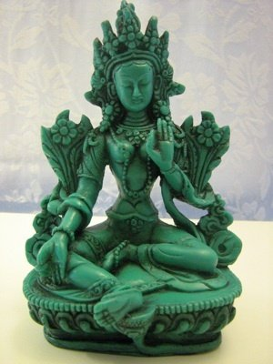 "GREEN TARA Statue 6"" Tall, Tibetan Mother of Compassion"