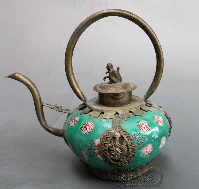 Antique porcelain teapot collection of antique copper-nickel alloy package home crafts furnishings