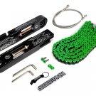 04-05 Suzuki GSXR 600 750 Swing Arm Extensions + SS Brake Line + Green Chain Kit