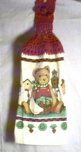 Crochet Top Bear and Birdhouses Kitchen Towel by The Village Craftsmith