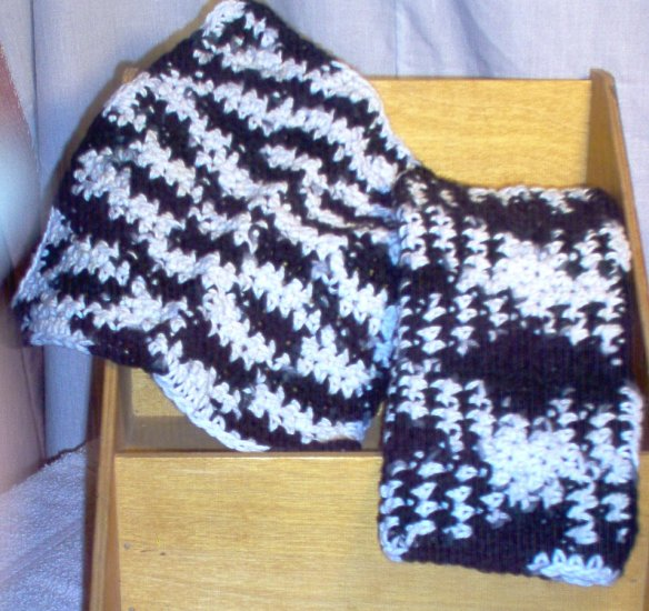 Black and White Handmade Crocheted 100% Cotton Washcloth or Dishcloth by The Village Craftsmith
