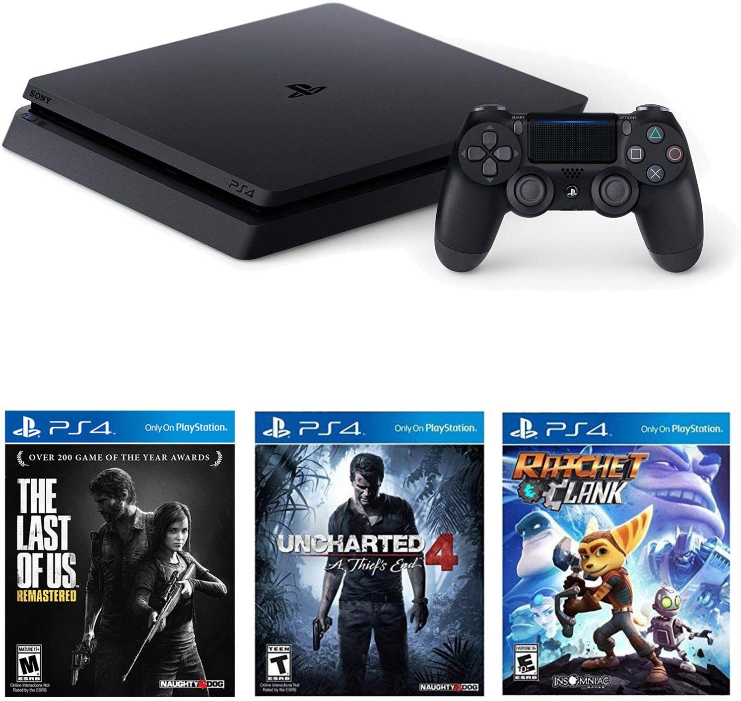 Sony Playstation 4 Slim(CUH-2215B) 1TB Core with Starter Pack Bundle-(Jet Black)