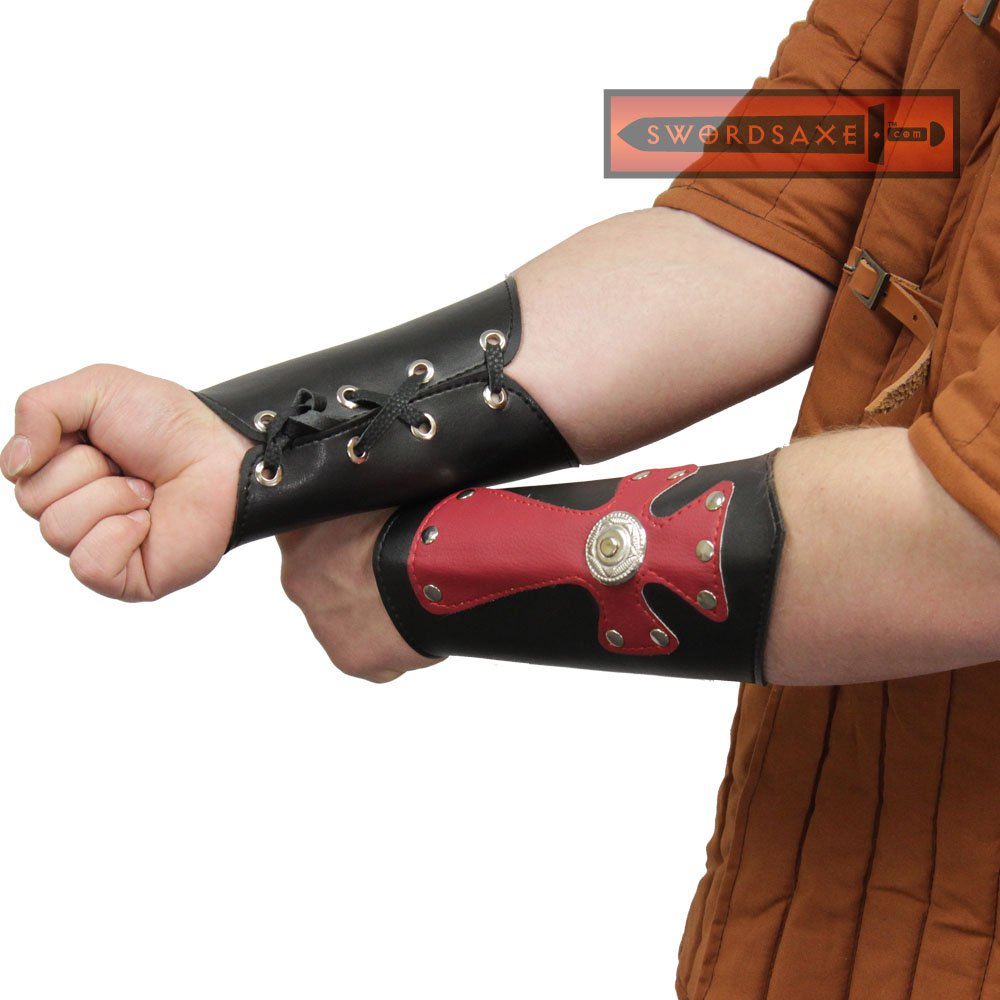 Medieval Templar Knight Celtic Leather Red Cross Arm Guard Bracers Armor Gothic