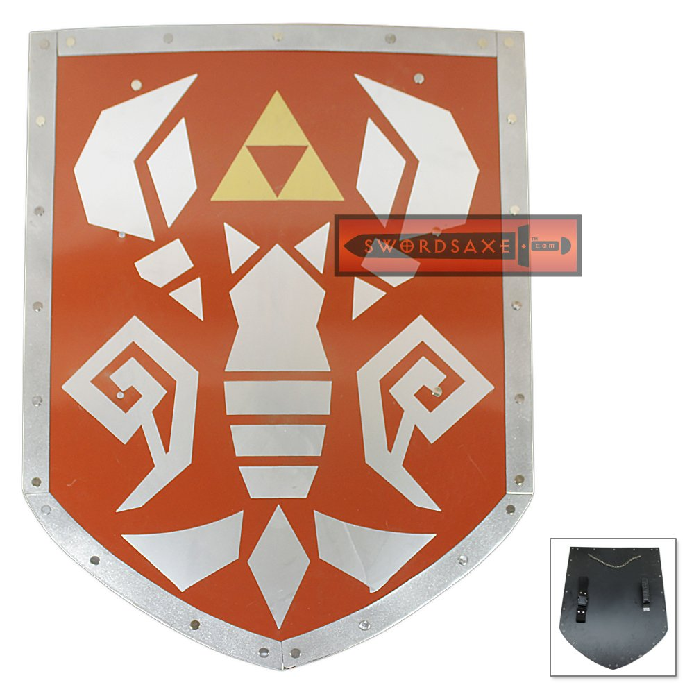 Legend of Zelda Link's Phantom Hourglass Steel Shield of Antiquity Triforce Metal Replica - YH-09