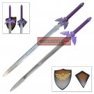 Legend of Zelda True Master Sword Set Purple Hilt Goddess Blessed Full Tang Steel Swords YH-01