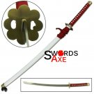 Japanese Bleach Anime Ninja Sword Samurai Katana Red Nylon White Saya Cosplay - JS-522W