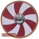 Viking Raider Medieval Norse Historical Wooden Red Spiral Nordic Round Shield LARP VSH-001