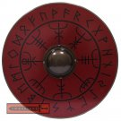 Viking Runes Helm of Awe Aegishjalmur Norse Pattern Wooden Round Shield - HNS-032