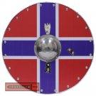 Viking Knights Nordic Flag Scandinavia Cross Norse Wooden Round Shield AHL-09