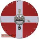 Viking Knights Denmark Flag Scandinavia Cross Norse Wooden Round Shield AHL-10