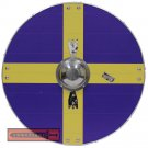 Viking Knights Sweden Flag Scandinavia Cross Norse Wooden Round Shield AHL-07