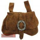 Real Suede Leather Medieval Kidney Belt Pouch Renaissance Noble Hip Purse Money Bag Brown AF-005BR