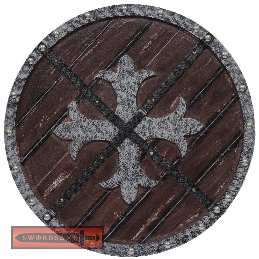 Knights Templar Roman Crusader Medieval Cross Fleury Warrior Wooden Shield - AHL-14