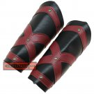 Dark Knight Medieval Templar Red Cross Crusader Leather Bracers Black FA-002