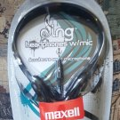 Maxell Black Headphones with Built-In Microphone