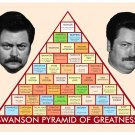 Ron Swanson Pyramid of Greatness Poster / Print  12x19 inches