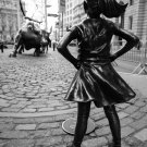 Fearless Girl Statue, New York Photography, Charging Bull Poster 18x34 inches