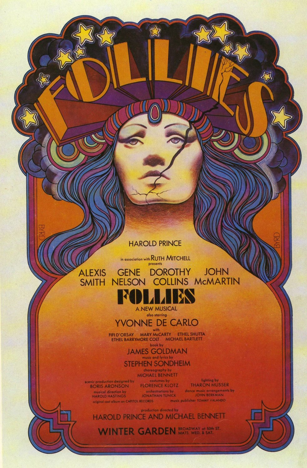 Follies 1971 Broadway Show Poster 12x19 inches