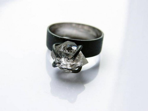 Ice. handmade herkimer diamond ring, oxidized sterling silver ring